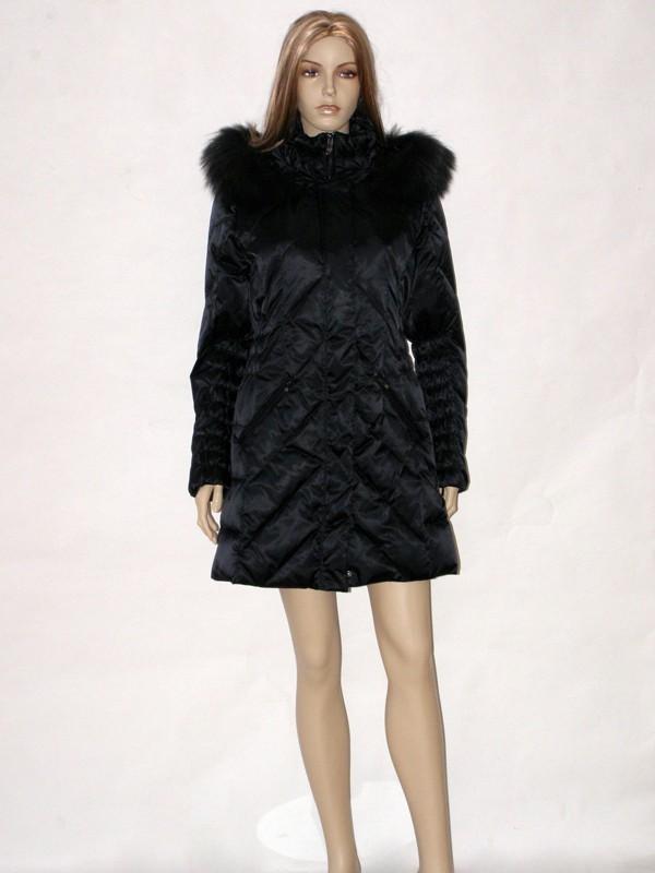 Černý péřový prošívaný kabát CI6603 Veltex 36/38, 40