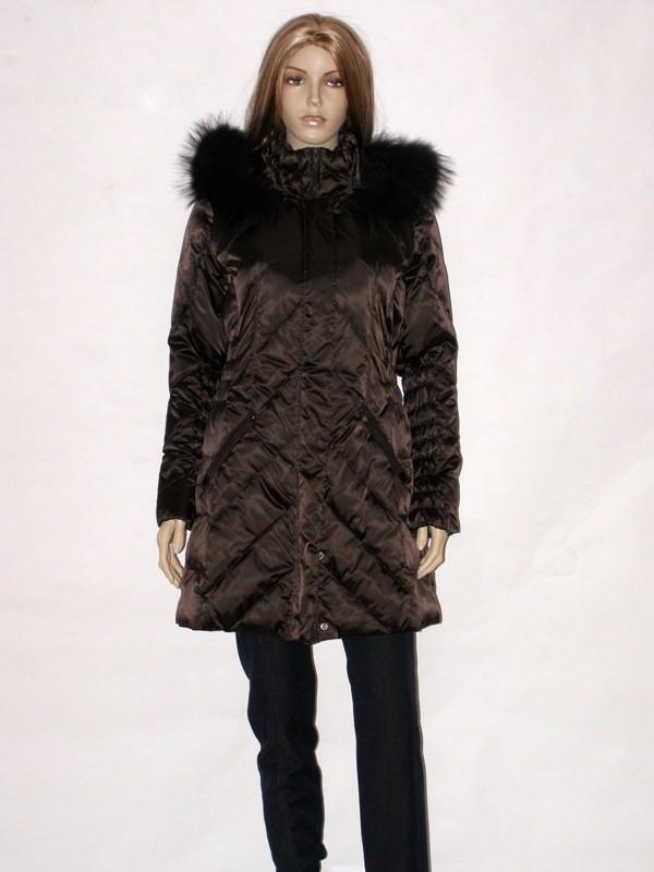 Hnědý péřový kabát s kapucí CI6603R Veltex 36 / 38