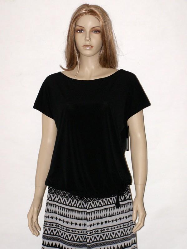 Černo bílá dlouhá sukně s černým tričkem 2714 / 8014 Andrea Martiny 42
