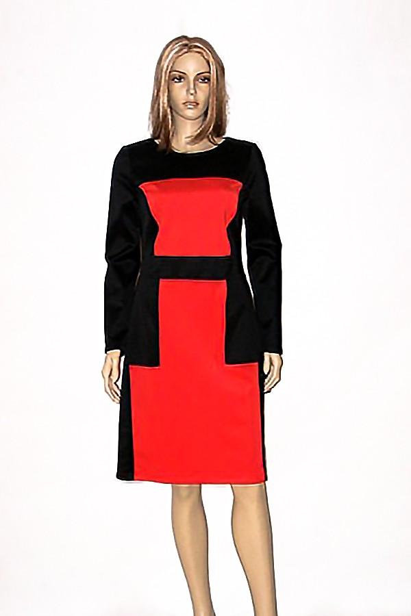 Červeno černé elastické pouzdrové šaty s dlouhým rukávem Andrea Martiny