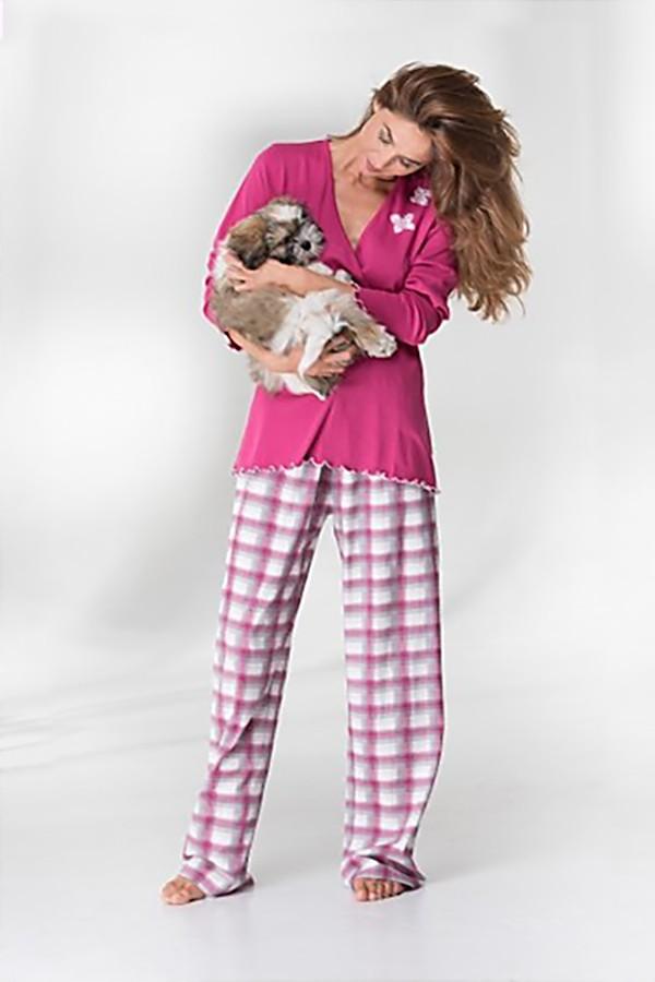 Tmavě růžové bavlněné dámské pyžamo 38260 Timo S