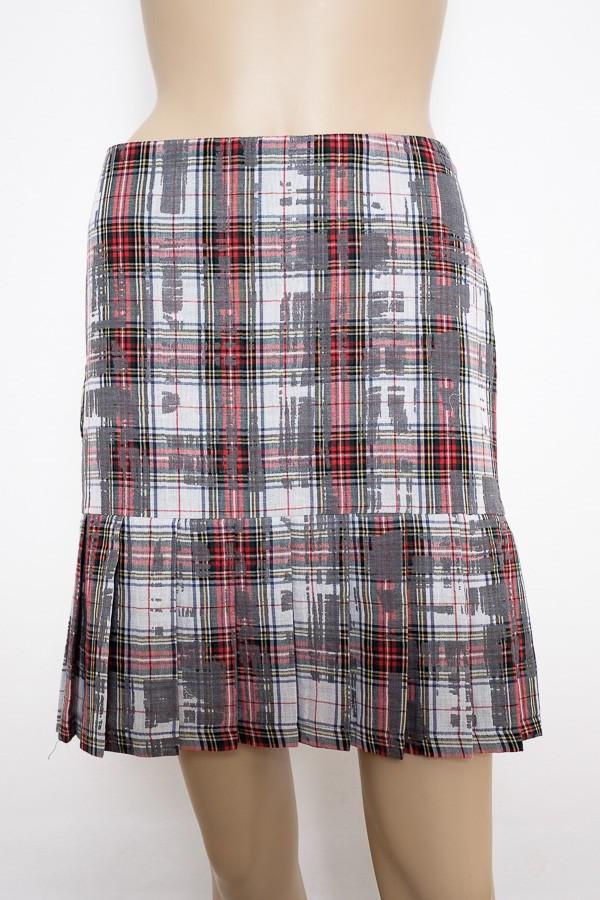 Šedo červená károvaná sukně se sklady 1816 Andrea Martiny 38, 40