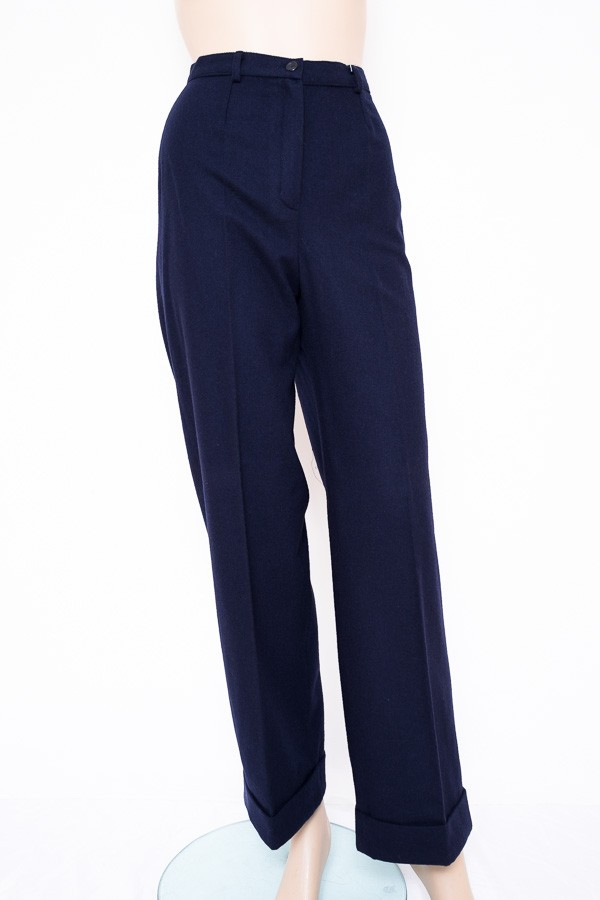 Modré zimní volné kalhoty do pasu 9234 Izabela 36