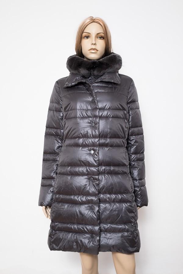 Šedý zimní prošívaný kabát s kapucí 2505 Veltex 42