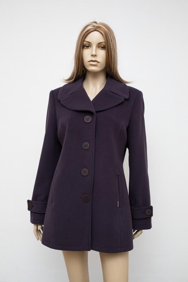 Fialový krátký flaušový kabát 1516 Andrea Martiny 46