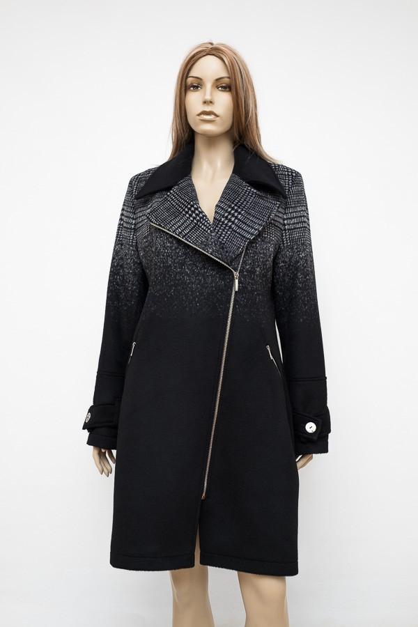 Černý atraktivní flaušový zimní kabát 1016 Andrea Martiny 40