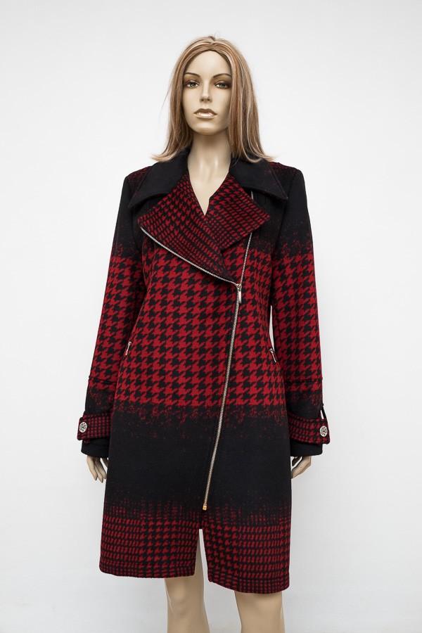 Černo červený atraktivní flaušový zimní kabát 1016 Andrea Martiny 44