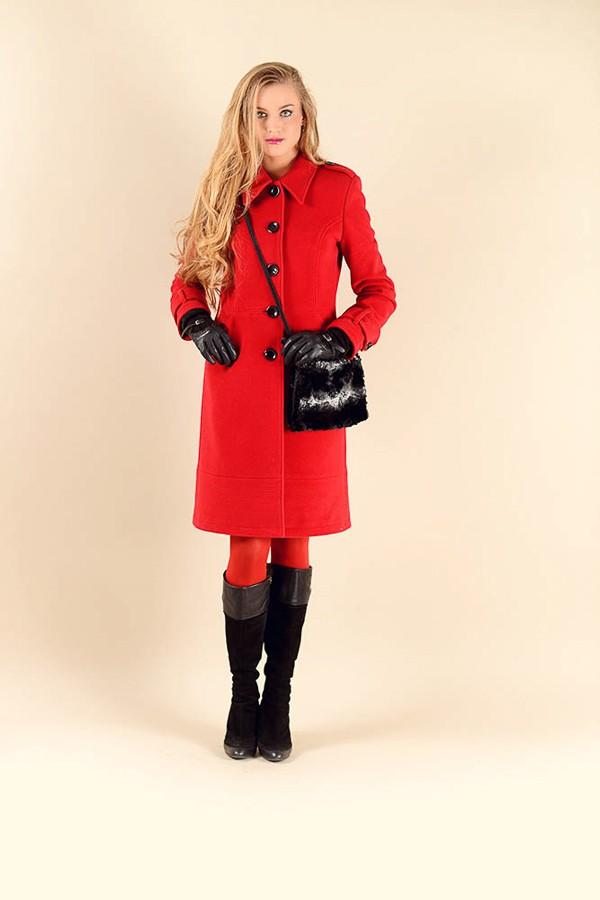 Červený flaušový kabát s límcem 1616 Andrea Martiny 36