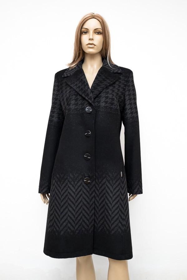 Antracitově černý vypasovaný flaušový kabát s fazonou 0816 Andrea Martiny 46