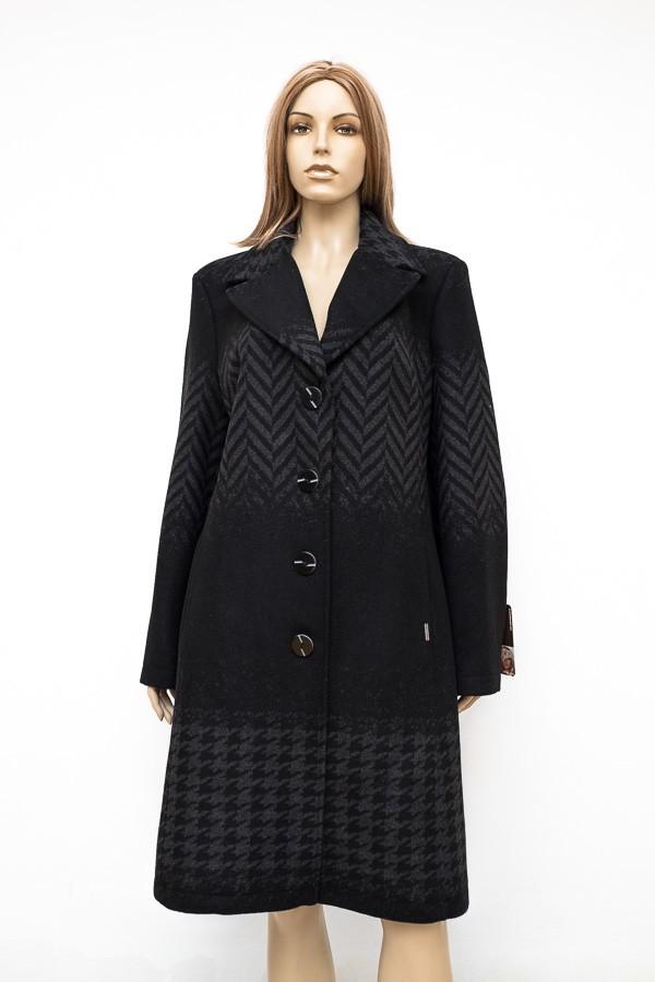 Antracitově černý vypasovaný flaušový kabát s fazonou 0816 Andrea Martiny 48