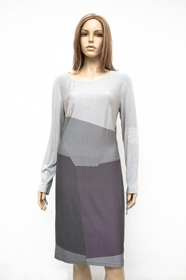 Šedé proužkové elastické šaty 0516 Andrea Martiny 42