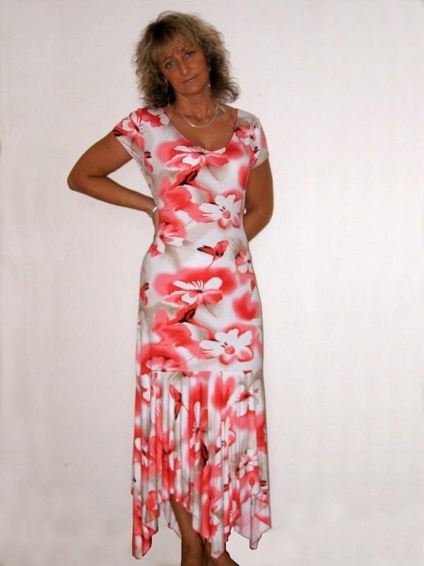 Dlouhé letní elastické šaty s rukávkem 7081 Sabatti 46
