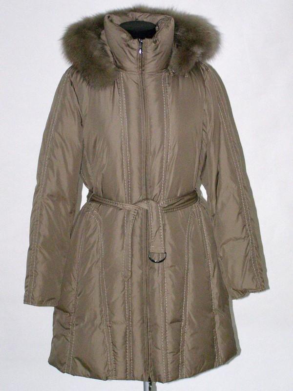 Béžový péřový prošívaný dámský kabát s kapucí 2036 Veltex 44