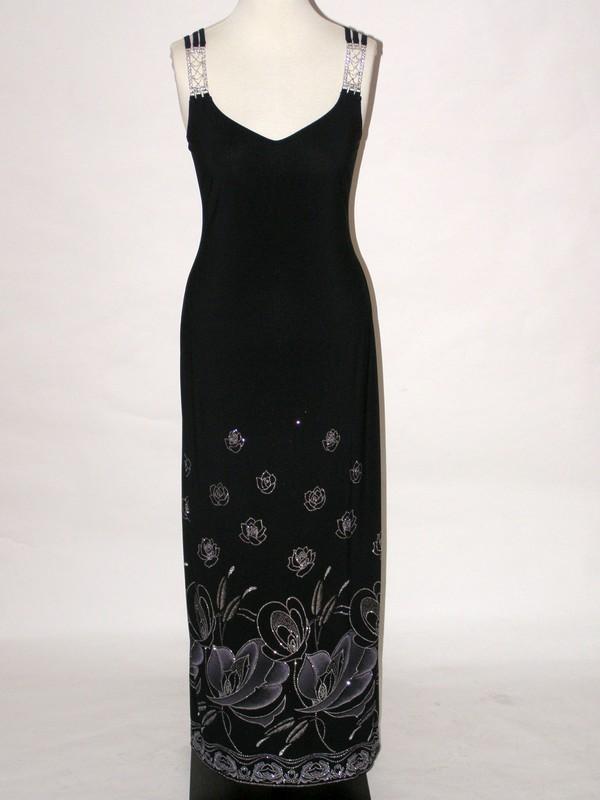Černé společenské elastické ramínkové šaty 8558 Sabatti 42