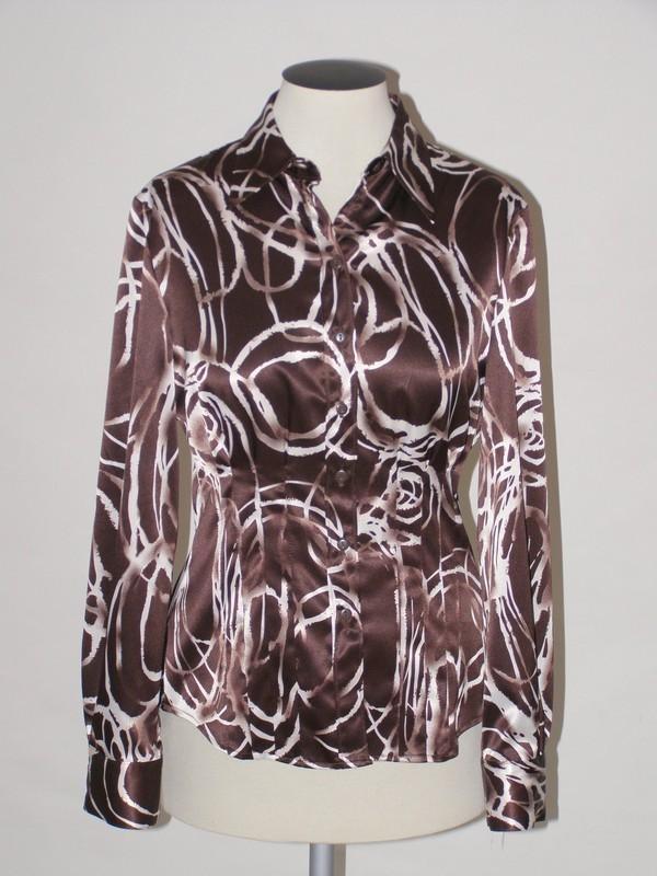 Hnědá saténová košile 3907 Andrea Martiny 44